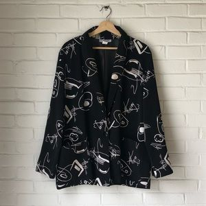Vintage abstract print soft blazer